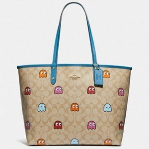 Coach x Pac-Man reversible blue canvas tote